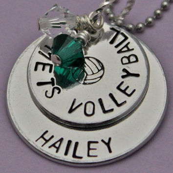 Volleyball Team  Necklace Deluxe Hand Stamped Personalized Custom Necklace