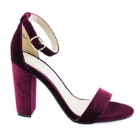 Rampage04s Burgundy by Bamboo, Burgundy classic high heel dress sandal w ankle strap chunky block heel