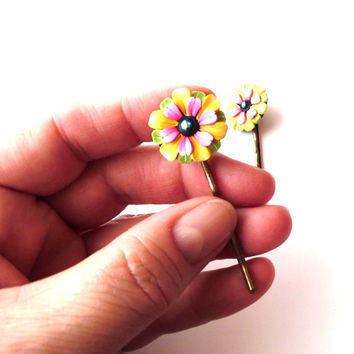 Art for your Hair, Set of Pink and Yellow Flower Hair Pins, Hair Accessories,Bobby Pins