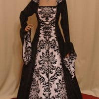 Medieval renaissance hooded gothic dress custom made