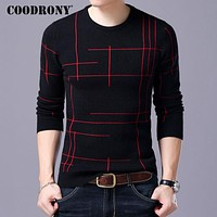 COODRONY Mens Knitted Sweaters Men Wool Sweater 2017 Autumn Winter Slim Fit Striped O-Neck Pull Homme Cashmere Pullover Men 7197