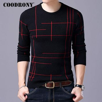 Knitted Sweaters Men Wool Sweater Winter Slim Fit Striped O-Neck Pull Home Cashmere Pullover Men