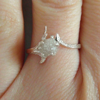 Snow white-Raw Rough Diamond - Solitaire- promise-one of a kind engagement ring- Any size- Made to order