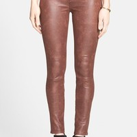 Women's 7 For All Mankind Faux Leather Skinny Jeans (Wine Crackle) (Nordstrom Exclusive)