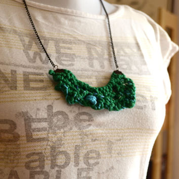 Knit rustic bib necklace, Fabric necklace, Organic Boho Women's accessories Eco friendly, OOAK