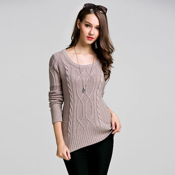 Knit Tops Winter Slim Round-neck Long Sleeve Sweater [9010376262]