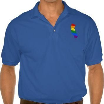 LGBT California, US state flag map Polo Shirt