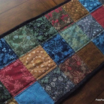 Quilted Patchwork Table Runner, Scrappy Handmade Runner