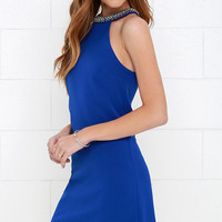 Comely Beaded Royal Blue Dress