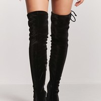 Velvet Over-the-Knee Boots