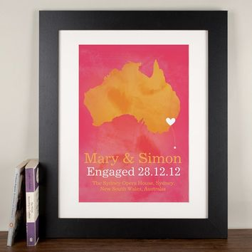 Personalised Engaged Map Print | GettingPersonal.co.uk