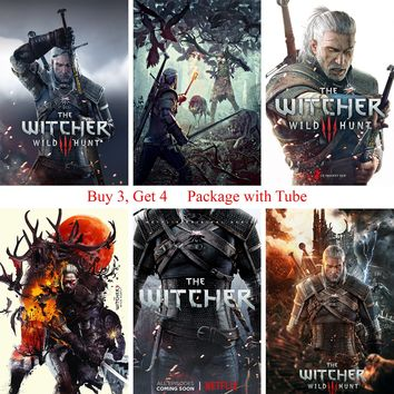 Witcher Posters Game Wall Stickers White Coated Paper Prints High Definition Livingroom Bedroom Decoration Home Art Brand