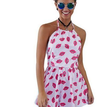 Pink Lips Print Halter Neck Backless Romper