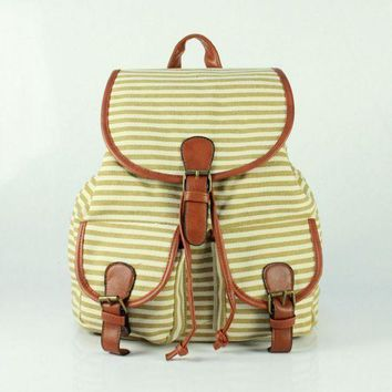 PEAPON Day First Cute Sweet Striped Travelling Bag College School Bag Canvas Backpack Daypack