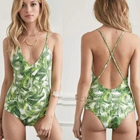 Hot one piece back cross bikini green leaf