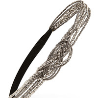 FOREVER 21 Braid Beaded Headband Pewter One