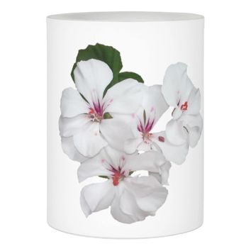 White Geranium Flower Wrapped LED Candle