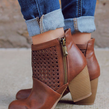 Girl Next Door Bootie - Cognac