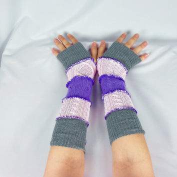 Armwarmers, Upcycled Clothing, Katwise Style, Boho Chic, Patchwork Fingerless Gloves, Women's Hippie Accesories, Recycled Sweaters, Purple