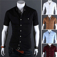 Tabbed Pocket Short Sleeve Dress Shirt SOS