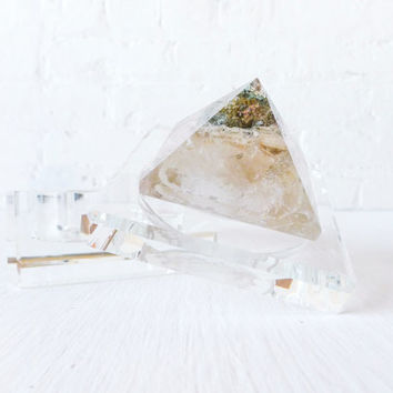 The Phantom Pyramid Jewelry Box - Beveled Glass Display - Polished Quartz Crystal - Geometric Geode - Light Meet Rainbow - Triangle Magic