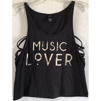 Rue21 Music Lover Strappy Tank Top Cage Side Criss Cross Crop Distress Black M