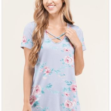 Sweetest Charm Lavender Floral Print And Stripes Top