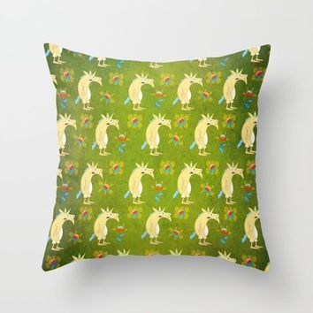 Flowers & Unicorns Throw Pillow by That's So Unicorny
