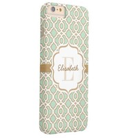 Monogram Mint Green and Gold Quatrefoil