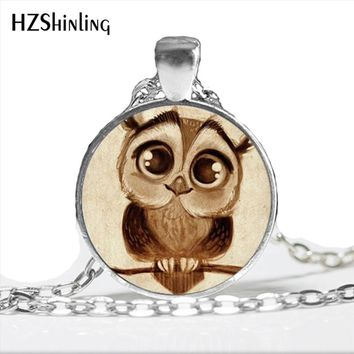 2017 New Arrival Cute Owl Necklace Handmade Round Art Photo Glass Dome Owl Pendant Necklace Animal Love Gift Jewelry HZ1