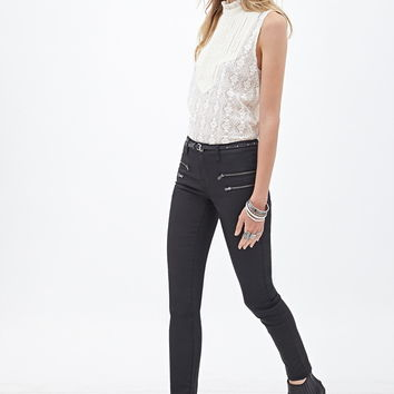 Mid-Rise - Zippered Skinny Jeans