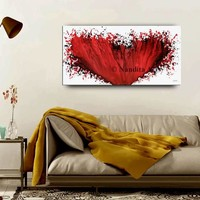 RED Heart Wall Art Painting on Canvas, Home Decor, Original Modern Painting Large Fine Art Office Decor Wall Contemporary Art by Nandita