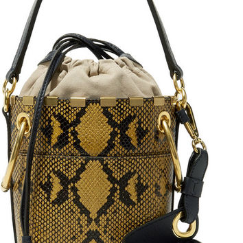 Chloé - Roy mini snake-effect leather bucket bag