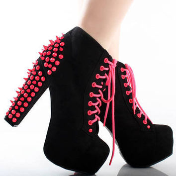 Black Neon Pink Suede Spike Studded Lace Up Platform Chunky Heel Ankle Boots 7.5