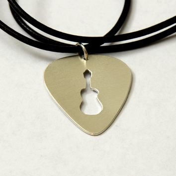 Guitar Pick Bronze Necklace with Handsawed Guitar Cut Out and Space to Personalize