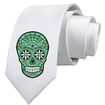 Green Day of the Dead Sugar Skull Necktie by TooLoud (R)