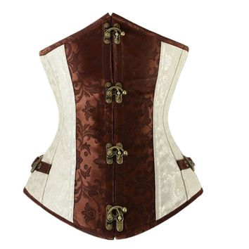 Brown Retro Sexy Basque Gothic Corset Lace up Steel Boned Brocade Steampunk Corselet Underbust Balck S-2XL