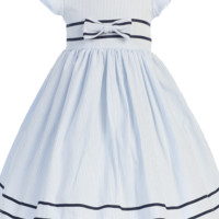 Light Blue Cotton Seersucker Spring Easter Dress w Navy Blue Trim (Baby 3 Months - Girls Size 7)