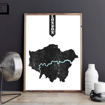 London print, London Map, London poster, London Printable, Wall  Art Decor, Home Decor, Minimal Decor, Instant Download, Map print