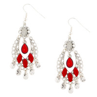 Antique Silver and Red Beads Boho Drop Earrings