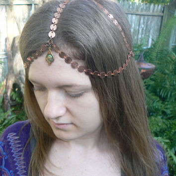 copper belly dancer head chain headdress head piece  halo in belly dance moroccan boho gypsy hippie and  hipster style