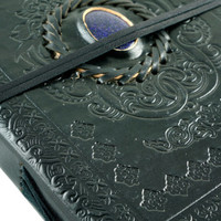 Large Black Journal Embossed with Blue Gold Gemstone