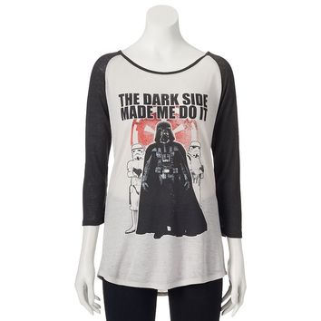 Mighty Fine Star Wars ''The Dark Side Made Me Do It'' Juniors' Thermal Tee, Size: