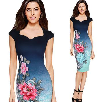 New Summer Fashion Elegant Multi-color Printing Floral Dress Vintage Office Lady Midi Pencil Hip Dress Women's Clothing Vestidos
