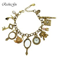 Fairy Tail Charms Beads Cinderella Chain Crystal Bangle Bracelets For Women Pulseira Masculina Jewelry Alice in Wonderland
