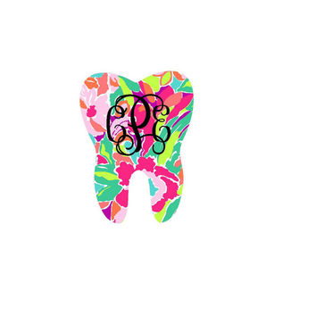 Tooth Lilly Pulitzer Inspired Monogram - Lilly Pulitzer - Yeti Decal - Sticker - Car Decal - Monogram Decal - Any Size - Glitter - Dentist