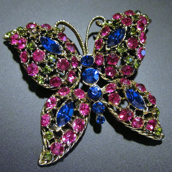 VINTAGE - Large Butterfly Multi-Stoned Brooch Pin - Jewelry
