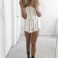 White Striped Off the Shoulder Romper