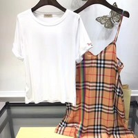 """Burberry"" Women Temperament Fashion Embroidery Short Sleeve T-shirt Rainbow Stripe Tartan Strap V-Neck Dress Set Two-Piece"