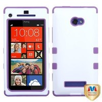 MYBAT HTCWIN8XHPCTUFFSO009NP Premium TUFF Case for HTC Windows Phone 8X - 1 Pack - Retail Packaging - Ivory White/Electric Purple